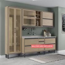 Cozinha Compacta Thela Canela 3 Peças com cristaleira Salina -