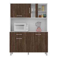 Cozinha Compacta Viena II 4 PT 1 GV Branco e Carvalho - Madine