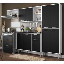 Cozinha Compacta Xangai 9 Portas Multimóveis Branco/Preto -