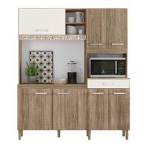 Cozinha Compacta Yara 7 Portas 1 Gaveta Carvalho R. / Carvalho R. / Off White C. Nicioli -