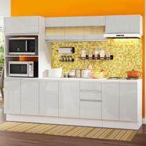 Cozinha Completa 100% MDF Madesa Smart 250 cm Modulada Com Balcão e Tampo - Frentes Branco Brilho -