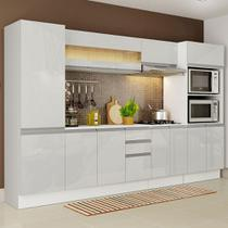 Cozinha Completa 100% MDF Madesa Smart 300 cm Com Armário, Balcão e Tampo - Frentes Branco Brilho -