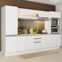 Cozinha Completa 100% MDF Madesa Smart 300 cm Modulada Com Armário, Balcão e Tampo -