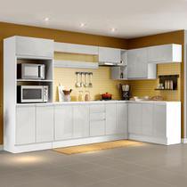 Cozinha Completa 100% MDF Madesa Smart Modulada de Canto - Frentes Branco Brilho -