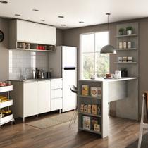 Cozinha Completa 4 Peças com Bancada Mesa Gourmet Armário Aéreo e Balcão de Pia Anita Luciane Móveis - Kit
