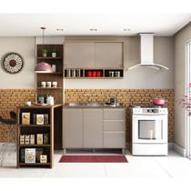 Cozinha Completa 4 Peças com Bancada Mesa Gourmet Armário Aéreo e Balcão de Pia Yara Luciane Móveis - Kit