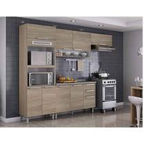 Cozinha Completa 4 peças com Fogão 4 Bocas com Acendimento Automático Luana FL Itatiaia Aveiro Oak -