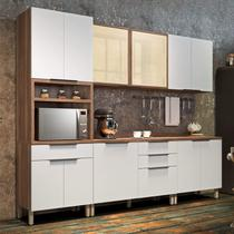 Cozinha Completa 5 Peças com Balcão e Tampo Donna Nesher Móveis Branco/Madeirado -