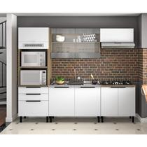 Cozinha Completa 5 Peças com Paneleiro Balcão com Pia Inox e Balcão para Cooktop Itamaxi Itatiaia Branco/Amadeirado/Inox -