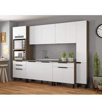 Cozinha Completa 6 Peças com Paneleiro Duplo Forno e Balcão com Pia Inox Itamaxi Itatiaia Branco/Amadeirado/Inox -