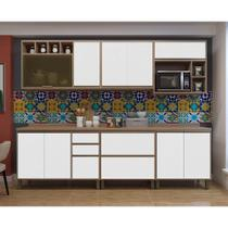 Cozinha Completa 7 Peças Vidro Reflecta e Nicho Microondas Armário e Balcão Yara Luciane Móveis - Kit