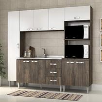 Cozinha Completa com Balcão sem Pia 4 Peças 9 Portas Master Siena Móveis Naturalle/Branco -