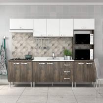 Cozinha Completa com Balcão sem Pia 5 Peças 11 Portas Master Fellicci Naturalle/Branco -