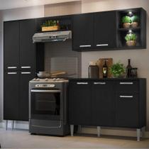 Cozinha Completa Compacta c/ 2 Leds, Armário e Balcão c/ Tampo 4 pçs Xangai Multimóveis Preta -