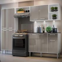 Cozinha Completa Compacta c/ 3 Leds, Armário e Balcão c/ Tampo 4 pçs Xangai Multimóveis Bca/Lca Fumê -