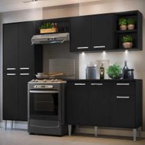 Cozinha Completa Compacta c/ 3 Leds, Armário e Balcão c/ Tampo 4 pçs Xangai Multimóveis Preta -