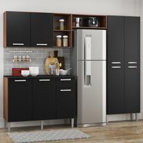 Cozinha Completa Compacta Pequim UP Multimóveis com Balcão -Madeirado com Preto -