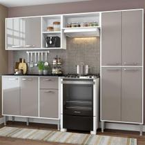 Cozinha Completa Compacta Xangai Plus Multimóveis Branco/Fumê -