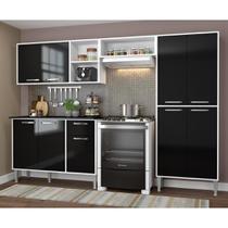 Cozinha Completa Compacta Xangai Plus Multimóveis Branco/preto -