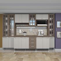 Cozinha completa d'incanto paris modulada 6 peças 295 cm 15 portas 3 gavetas com tampo nogal salinas nogal -