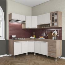 Cozinha completa d'incanto paris modulada 6 peças 340 cm 12 portas 3 gavetas com tampo nogal salinas nogal -