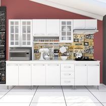 Cozinha completa d'incanto viena modulada 5 peças 260 cm 13 portas 3 gavetas com tampo branco -