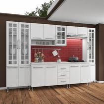 Cozinha completa d'incanto viena modulada 6 peças 295 cm 15 portas 3 gavetas com tampo branco -