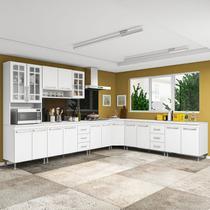 Cozinha completa d'incanto viena modulada 7 peças 600 cm 16 portas 6 gavetas com tampo branco -