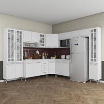 Cozinha completa d'incanto viena modulada 9 peças 515 cm 20 portas 3 gavetas com tampo branco -