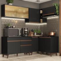 Cozinha Completa de Canto Madesa Reims 332002 com Armário e Balcão - Preto -