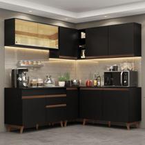 Cozinha Completa de Canto Madesa Reims 382001 com Armário e Balcão - Preto -