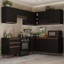 Cozinha Completa de Canto Madesa Reims 392001 com Armário e Balcão - Preto -