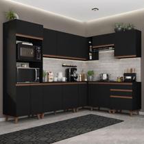 Cozinha Completa de Canto Madesa Reims 462001 com Armário e Balcão - Preto -
