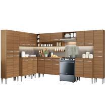 Cozinha Completa de Canto Reto Madesa Emilly Big Com Armário e Balcão 21 Portas 1 Gaveta - Gcem5130025Z - Madesa Móveis -