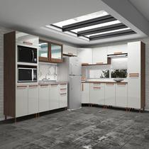 Cozinha completa fidelita bahrein modulada 10 peças 596 cm 18 portas 3 gaveta sem tampo noce off - COZINHAS FIDELITÁ