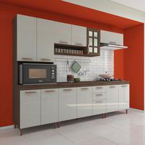 Cozinha completa fidelita berlim modulada 5 pecas 270 cm 13 portas 2 gavetas com tampo noce off - Cozinhas Fidelitá