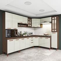 Cozinha completa fidelita berlim modulada 8 pecas 451 cm 18 portas 2 gavetas com tampo noce off - COZINHAS FIDELITÁ