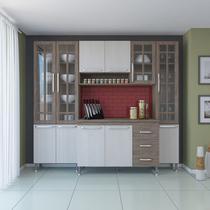 Cozinha completa fidelita paris modulada 4 pecas 225 cm 11 portas 3 gavetas com tampo nogal salinas nogal - COZINHAS FIDELITÁ