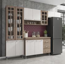 Cozinha completa fidelita paris modulada 4 peças 260 cm 11 portas 3 gavetas com tampo nogal salinas nogal - COZINHAS FIDELITÁ