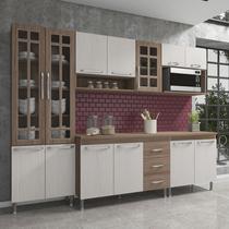 Cozinha completa fidelita paris modulada 5 peças 260 cm 13 portas 3 gavetas com tampo nogal salinas nogal - COZINHAS FIDELITÁ