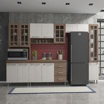 Cozinha completa fidelita paris modulada 5 pecas 295 cm 12 portas 3 gavetas com tampo nogal salinas nogal - COZINHAS FIDELITÁ