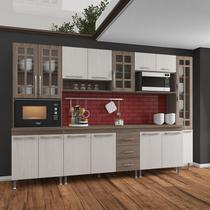 Cozinha completa fidelita paris modulada 6 peças 295 cm 15 portas 3 gavetas com tampo nogal salinas nogal - COZINHAS FIDELITÁ