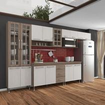 Cozinha completa fidelita paris modulada 6 peças 330 cm 15 portas 3 gavetas com tampo nogal salinas nogal - Cozinhas Fidelitá