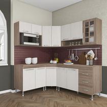 Cozinha completa fidelita paris modulada 6 peças 340 cm 12 portas 3 gavetas com tampo nogal salinas nogal - COZINHAS FIDELITÁ