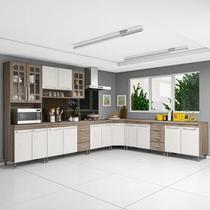 Cozinha completa fidelita paris modulada 7 peças 600 cm 16 portas 6 gavetas com tampo nogal salinas nogal - COZINHAS FIDELITÁ