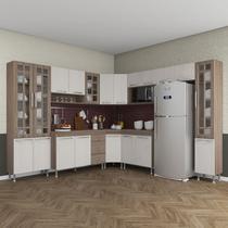 Cozinha completa fidelita paris modulada 9 peças 515 cm 20 portas 3 gavetas com tampo nogal salinas nogal - COZINHAS FIDELITÁ