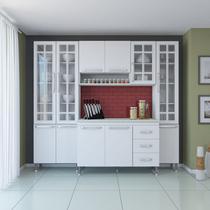 Cozinha completa fidelita viena modulada 4 pecas 225 cm 11 portas 3 gavetas com tampo branco - COZINHAS FIDELITÁ