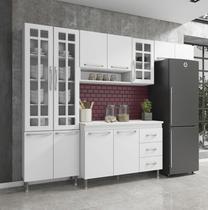 Cozinha completa fidelita viena modulada 4 peças 260 cm 11 portas 3 gavetas com tampo branco - COZINHAS FIDELITÁ