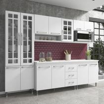 Cozinha completa fidelita viena modulada 5 peças 260 cm 13 portas 3 gavetas com tampo branco - COZINHAS FIDELITÁ