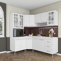 Cozinha completa fidelita viena modulada 5 peças 340 cm 12 portas 3 gavetas com tampo branco - COZINHAS FIDELITÁ